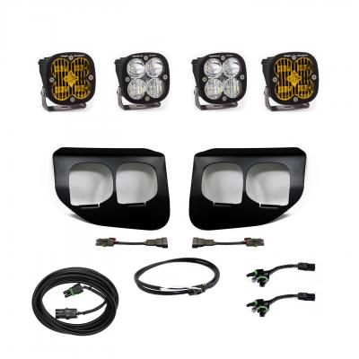 447739UP - 2x Squadron SAE Amber lights / 2x Squadron Sport White Lights with Upfitter Wiring Harness
