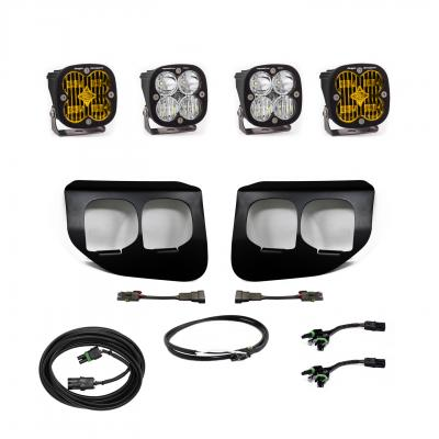 447737UP - 2x Squadron SAE Amber lights / 2x Squadron Pro White Lights with Upfitter Wiring Harness